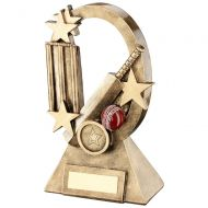 Bronze/Gold/Red Cricket Oval/Stars Series Trophy - 7.25in