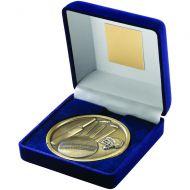 Blue Velvet Box Medal Cricket Trophy Antique Gold 4in