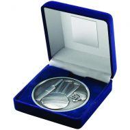 Blue Velvet Box Medal Cricket Trophy Antique Silver 4in