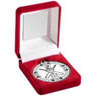 Red Velvet Box Medal Cricket Trophy Silver 3.5in