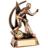 Bronze/Gold Male Lawn Bowls Geo Figure Trophy 6.5in