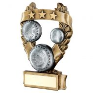 Bronze Pewter Gold Lawn Bowls 3 Star Wreath Award Trophy 5in : New 2019