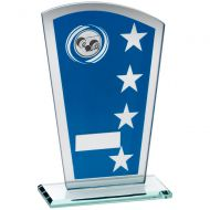 Blue/Silver Printed Glass Shield Lawn Bowls Trophy - 7.25in