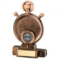 Bronze/Gold Motor Sport Stopwatch On Podium Trophy 5.25in