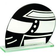 Jade Glass Black/Silver Motor Sport Helmet Trophy 5.25in