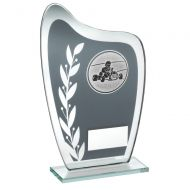 Grey/Silver Glass Plaque Go-Kart Trophy 6.5in