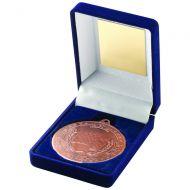 Blue Velvet Box Medal Motor Sport Trophy Bronze 3.5in