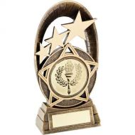 Bronze/Gold Generic Tri-Star Oval Plaque Trophy - 7.25in