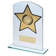 Jade Glass Arched Rectangle With Gold Glitter Star Trophy 7.25in : New 2019