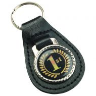 Black Leather Key Fob 2.5in