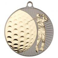 Golf  Two Colour Medal - Matt Silver/Gold     2.75in