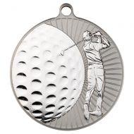 Golf Two Colour Medal - Matt Silver/Silver  2.75in