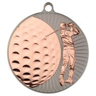 Golf  Two Colour Medal - Matt Silver/Bronze 2.75in