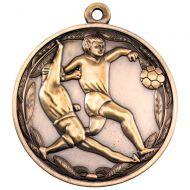 Double Footballer Medal Antique Gold 2in