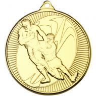 Rugby Multi Line Medal Gold 2in