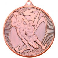 Rugby Multi Line Medal Bronze 2in