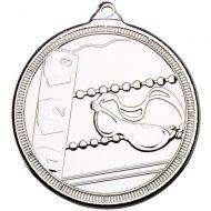 Swimming Multi Line Medal Silver 2in