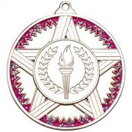 Striped Star Medal Pink Glitter Silver 2in