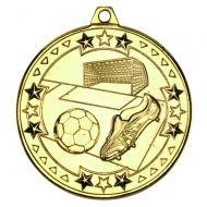 Football Tri Star Medal Gold 2in