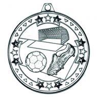 Football Tri Star Medal Silver 2in