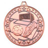 Football Tri Star Medal Bronze 2in