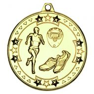 Running Tri Star Medal Gold 2in