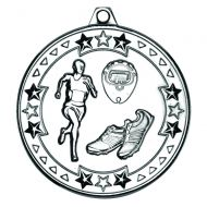 Running Tri Star Medal Silver 2in