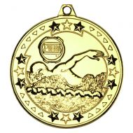 Swimming Tri Star Medal Gold 2in