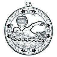Swimming Tri Star Medal Silver 2in