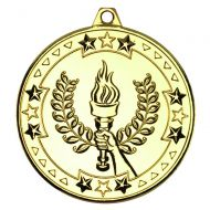 Victory Torch Tri Star Medal Gold 2in