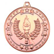 Victory Torch Tri Star Medal Bronze 2in