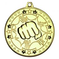 Martial Arts Tri Star Medal Gold 2in
