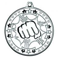 Martial Arts Tri Star Medal Silver 2in