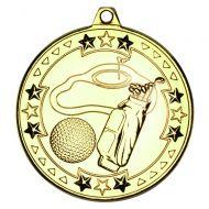 Golf Tri Star Medal Gold 2in