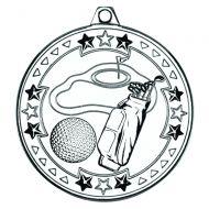 Golf Tri Star Medal Silver 2in