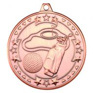Golf Tri Star Medal Bronze 2in