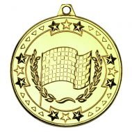 Motor Sport Tri Star Medal Gold 2in