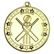 Cricket Tri Star Medal Gold 2in
