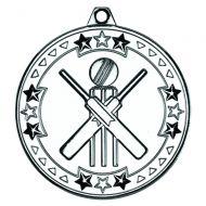 Cricket Tri Star Medal Silver 2in