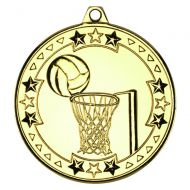 Netball Tri Star Medal Gold 2in