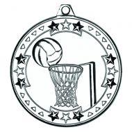 Netball Tri Star Medal Silver 2in