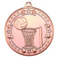 Netball Tri Star Medal Bronze 2in