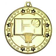 Basketball Tri Star Medal Gold 2in