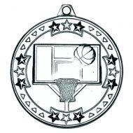 Basketball Tri Star Medal Silver 2in