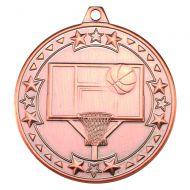 Basketball Tri Star Medal Bronze 2in