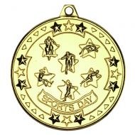 Sports Day Tri Star Medal Gold 2in