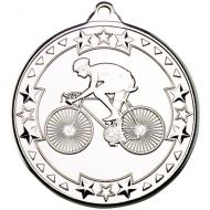 Cycling Tri Star Medal Silver 2in