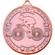 Cycling Tri Star Medal Bronze 2in