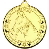 Horse Tri Star Medal Gold 2in