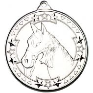 Horse Tri Star Medal Silver 2in